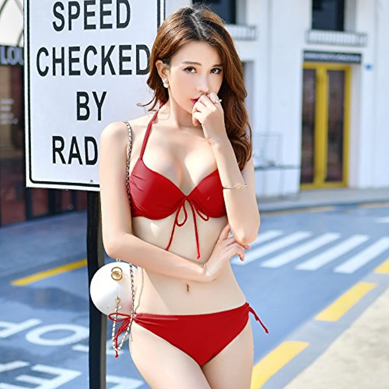Koreanische Badeanzug, Bikini, Zwei Badeanzüge, L, L, L, Rot B07BF56HJB  König der Menge 676c98