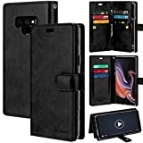 Goospery Mansoor Galaxy Note 9 (2018) Leather Wallet Case Double Sided Card Holder [9 Card Slots, 2 Money Pockets] Protective Folio Flip Cover (Black) NT9-MAN-BLK