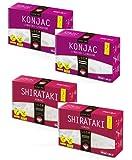 WokFoods: 2 x Konjac Linguine + 2 x Shirataki Konjac, Preparato Alimentare con Farina di Konjac Cibo Giapponese --4 x 300 Grammi (Peso Sgocciolato 4 x 200 Grammi)