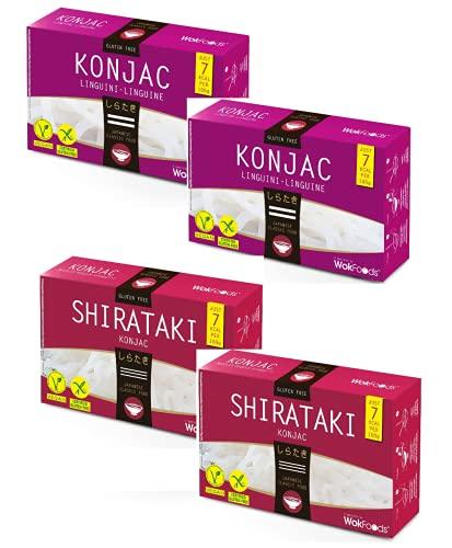 WokFoods: 2 x Konjac Linguine + 2 x Shirataki Konjac, Preparato Alimentare con Farina di Konjac Cibo Giapponese - 4 x 300 Grammi (Peso Sgocciolato 4 x 200 Grammi)