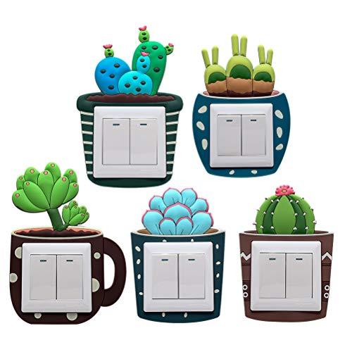 VOSAREA 5pcs Vinilos para Interruptores de la Luz en Forma de Cactus Pegatinas Decorativas de Pared para Habitacion (Patrón Aleatorio)