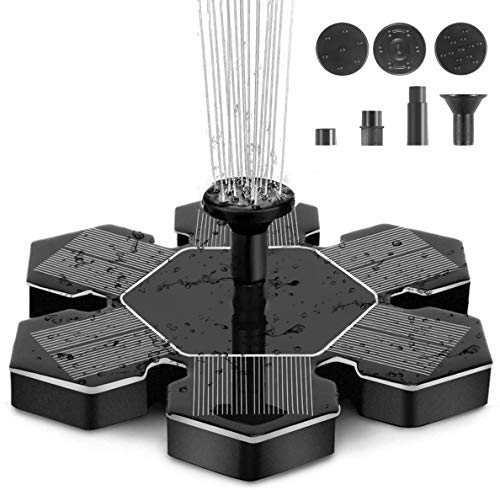Auka Solar Fountain Pump, 1.4W Free Standing Bird Bath Fountain Pump for Garden and Patio, Solar Panel Kit Water Pump (Black)