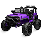 Kidzone Kids 12V9AH Battery Powered Extra Wide Seat Ride On Truck with DIY License Plate, Off Road Big Wheels, Front Bumper, LED Light, Remote Control, Bluetooth Music, 2 Speeds - Purple