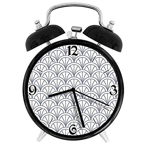 77 xiochgzish Reloj Despertador Digital geométrico Seigaiha superpuesto Medio círculos Ola cadete japonés Tradicional Adecuado para Estudio de Dormitorio de Oficina