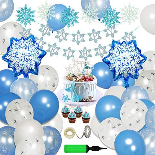 ECHOAN Eiskönigin Party Schneeflocke Luftballons Blau Deko Ballon Party Girlande Tiara Ballonpumpe Perfekte Dekoration für Geburtstag, Hochzeit, Party, Weihnachten, Halloween, und andere Festivals