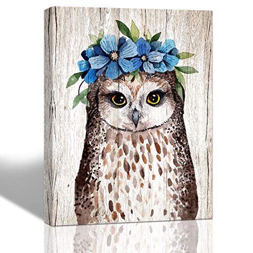 Purple Verbena Art Flower Garland Owl Pictures Canvas Wall Art Watercolor Lovely Animal Hand Painting on Canvas Artwork Home Decor for Living Room Bedroom Walls Decoration,Framed Picture 12x16 Inches