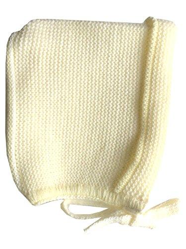 MLT Bonnet de Naissance avec Liens (Jaune), tricoté en France