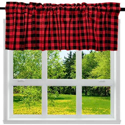 2 Pack Buffalo Check Plaid Cotton Window Valances Red and Black Farmhouse Design Window Treatment Decor Curtains Rod Pocket Valances for Kitchen/Living Room 16' x 56'