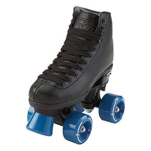 RW Skates - Wave - Kids Quad Roller Skates for Indoor / Outdoor | Black | Size 3 Junior