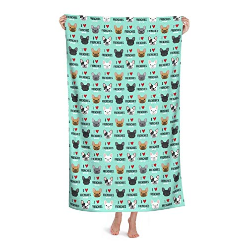 Frenchie Dog Sand Free Beach Towel Quick Dry Absorbent Swim Blanket for Travel Pool Bath Camping Yoga,3252 Inch