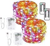 CHOUREN Luces en cuerda USB y con pilas luces de cadena 33 pies 100 LED Luces de Navidad de control remoto del temporizador 8 modos de Firefly Luces 2 Paquete de múltiples