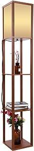 Lampada da terra con scaffali, Illuminazione interno lampada di pavimento in legno con ripiani per camera da letto e sala di soggiorno,26 * 26 * 160cm (marrone)