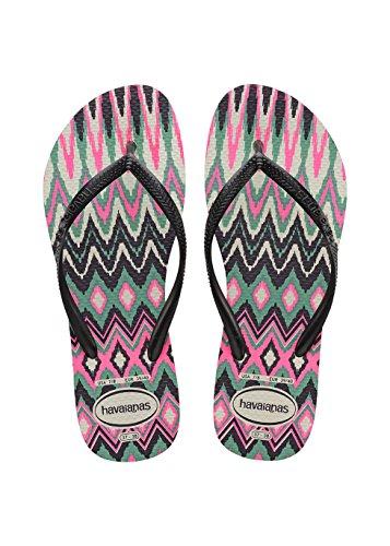 Havaianas Slim Tribal, Chanclas Mujer, Multicolor (White/Black/Pink), 39/40