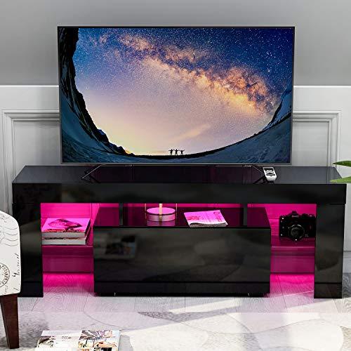 Mueble bajo para TV con iluminación LED, mueble de TV con cajones, estante de alta calidad para el salón