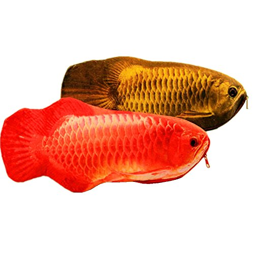 Funny live Simulation Fish Pencil Case Crucian Carp Stationery Bags Creative Coin Purse Set of 2