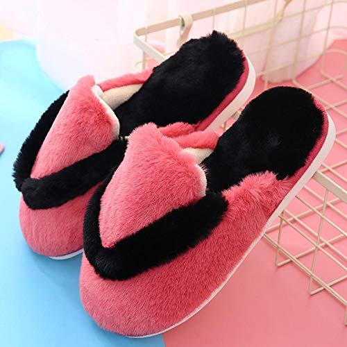 Caliente Slippers Suave Algodón Zapatilla Mujer ,Zapatillas de algodón para mujer de invierno, parte inferior de felpa, zapatillas de interior para el hogar, zapatos gruesos cálidos, rojo UE 36-37
