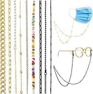 Juego de 9 soportes de cadena para cubrebocas alrededor del cuello para mujer, cadena de lentes, de color oro y negro y co...