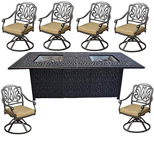 Sunvuepatio 7 Piece Outdoor Cast Aluminum Dining Set with Fire Pit Table All Swivel Rocker Chairs.