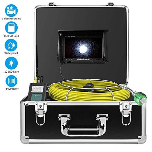 Kanalisationskamera 30M mit DVR Funktion, Industrielles Pipeline-Inspektions Endoskop Professionelles wasserdichtes IP68 Endoskop mit 7