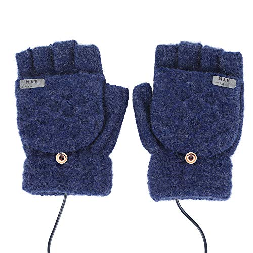 TOPmountain Luvas aquecidas por USB, luvas unissex, luvas aquecidas de tricô, luvas quentes para o inverno, luvas para laptop, luvas respiráveis, laváveis, meias mãos, quentes para uso interno e externo, motocicleta, esportes 5V