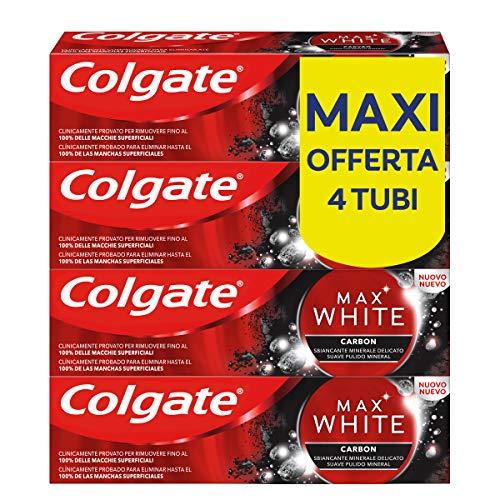 Colgate Dentifricio Sbiancante Max White Carbon, Dentifricio Minerale Delicato Al Carbone Attivo Per Denti Bianchi e Senza Macchie, 4 Confezioni da 75 ml