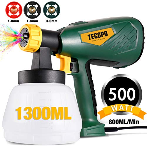 Paint Sprayer, TECCPO 500 Watts Up to 100 DIN-s, 800ml/min HVLP Electric...