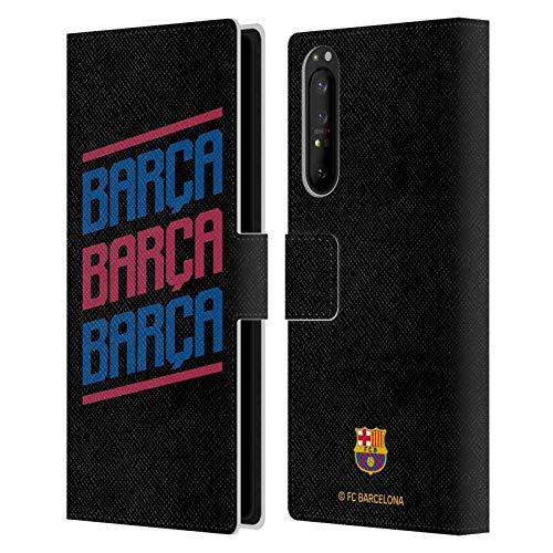 Head Case Designs Licenciado Oficialmente FC Barcelona Triple Forca Barca Carcasa de Cuero Tipo Libro Compatible con Sony Xperia 1 II 5G