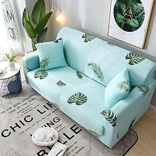 ASCV Impresión elástica Funda de sofá de Esquina para Sala de Estar Funda de sofá para sofá Puff Seat decoración del hogar ensamblar Funda de sofá A5 2 plazas