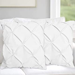 Pinch Plated / Pintuck White Pillow Shams Set of 2 - Luxury 600 Thread Count 100% Egyptian Cotton Cushion Cover Euro Size Decorative Pillow Cover Tailored Poplin European Pillow Sham Euro 26'' x 26''