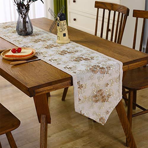 Inmerget Camino de mesa de encaje clásico para decoración de mesa de boda, fiesta bordada, corredores de recepción de 180 cm