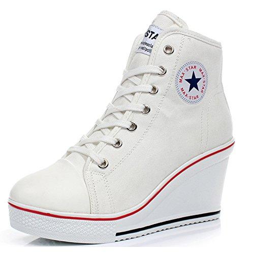 Padgene Mujer Cuñas Zapatos De Lona High-Top Zapatos Casuales Encaje Hebilla Cremallera Lateral Tacón Cuña 8CM