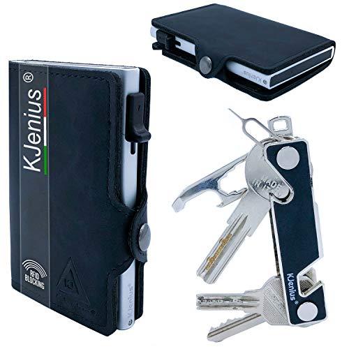 Portafoglio Piccolo Porta Carte Di Credito Tessere Documenti Mini Uomo Donna Pelle Schermato Distinto Protezione RFID NFC Antifrode Sottile Slim Zip + Portachiavi Intelligente Smart Key organizer