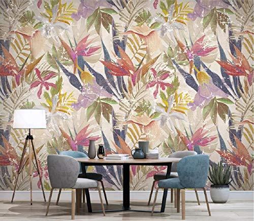 Carta Da Parati Adesiva Muro 3D Parete d\'annata del fondo delle piante tropicali nordiche Fotomurali 3D Photo Wallpaper Moderna Murale