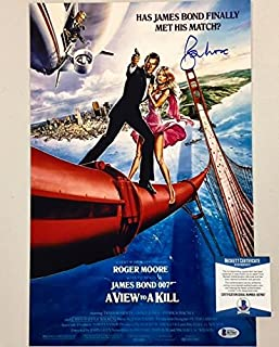 Roger Moore Signed View To A Kill 11x17 Movie Poster Photo BAS Beckett COA