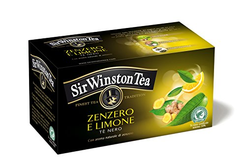 Sir Winston Tea Tè Nero, con Zenzero e Limone, 20 bustine, 35g