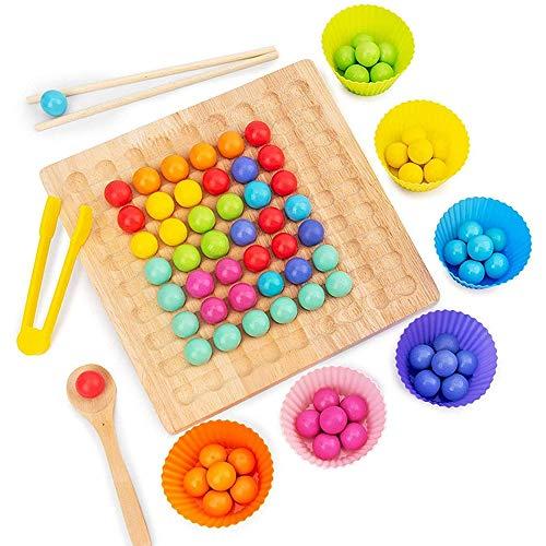 Holz Go Spiele Set Dots Shuttle Beads Brettspiele, Magic Chess Rainbow Color Match Spielzeug Holzclip Perlen Spielzeug