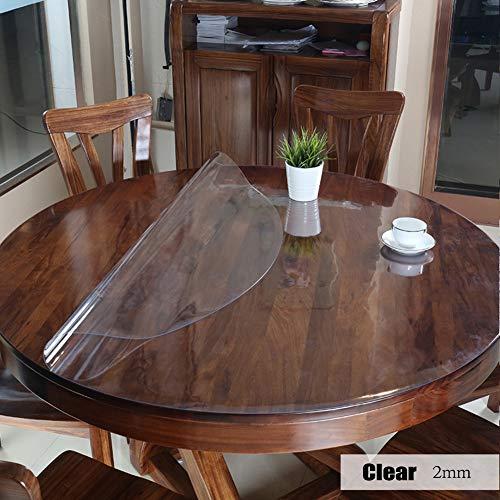 HXTABLECLOTH PVC Claro Redonda Manteles, Impermeable Circular Almohadilla Lavables Anti-Suciedad Manteles De Mesa para Restaurante Cena De Cocina -Claro D 110cm(43in)