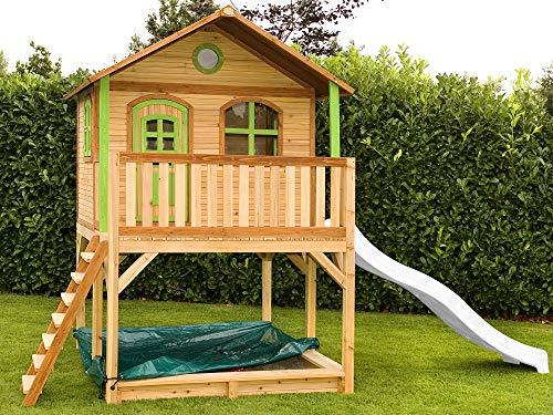 Beauty.Scouts Holzspielhaus Wieka weiß grün mit Veranda + Leiter + Rutsche + Sandkasten 212x432x293cm aus Holz Holzrutsche Holzhaus Holzsandkasten Spielplatz