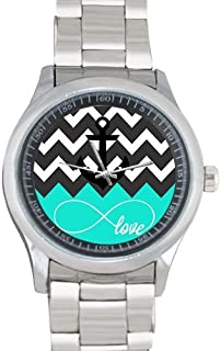 Love Infinity Forever Love Symbol Chevron Pattern with Nautical Anchor Metal Watch(40mm dia,stainless band)