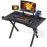 Yaheetech Mesa Gaming Mesa de Ordenador Escritorio Ergonómica con Superficie Grande Gancho Almohadilla de Ratón 100 × 60 cm para Oficina Hogar