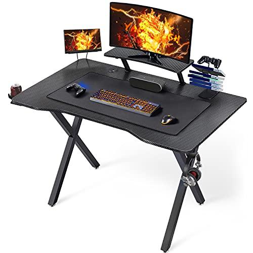 Yaheetech Scrivania Gaming Ergonomica, Scrivania per Computer Gioco Tavolo PC Professionale con Ampio Mouse Porta Bicchieri Tappetino Supporto Gancio per Cuffie Gestizione dei Cavi 111 X 71 x 96 CM