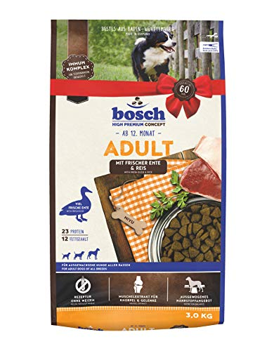 bosch Tiernahrung bosch HPC Adult mit Ente & Kartoffel, Hundetrockenfutter für ausgewachsene Hunde aller Rassen, 3 kg