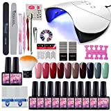 Saint-Acior 36W UV LED Nagellampe Starterset 10x Gel Lacken für UV Nageldesign Gelnägel Nagelset uv Gel Lacken Set