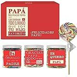 SMARTY BOX Caja Regalo Papá Chuches Original Caramelos y Gominolas para Día del Padre el Mejor Papá del Mundo, San José, Cumpleaños, Santo Golosinas sin Gluten, Fabricado en España