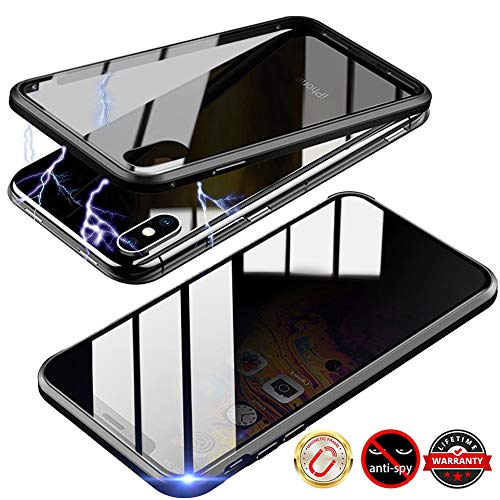 TraCa Magnetic Case for iPhone XR, Anti Peeping Magnetic Privacy Adsorption with Clear Double Sided Tempered Glass 360 Full Protective Compatible with Apple iPhone XR Black