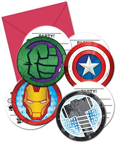 Procos 87970 - Einladungskarten mit Umschlägen Mighty Avengers, 6 Stück, Kindergeburtstag
