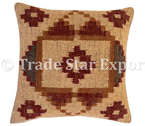 Fair Trade Kilim kussensloop 45 x45, jute kussenslopen, handgemaakte kussensloop, decoratieve werpkussens, handgeweven Kelim tapijt kussen, huisdecoratie kussens voor woonkamer