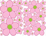 Pink with Green Daisy Flower Wall Decals, Stickers, Flower Wall Decor