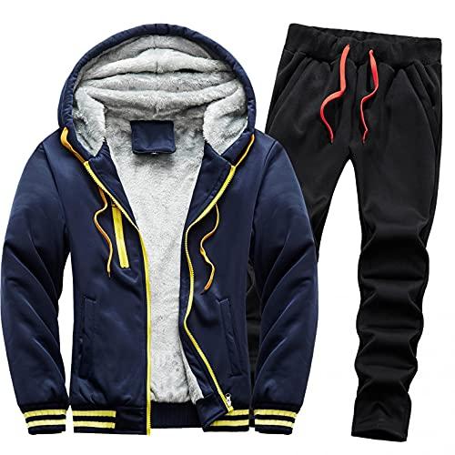 URIBAKY - Disfraz para hombre, color liso, deportivo, talla grande, chaqueta de abrigo de terciopelo, gruesa, más gruesa, para actividades de ocio, para ir al aire libre., Azul oscuro., XL