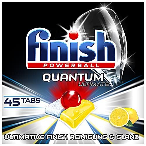Finish Quantum Ultimate Citrus Spülmaschinentabs – Phosphatfreie Geschirrspültabs mit 3-fach Wirkung – Kraftvolle Reinigung, Fettlösekraft und Glanz – XXL Pack mit 45 Finish Tabs